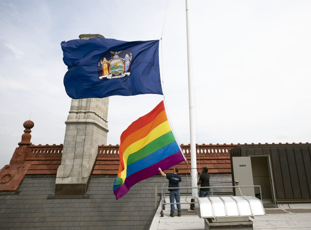 June 5, 2019 - Albany, NY - The Pride flag flies over the State Capitol in Albany. (Mike Groll/Office of Governor Andrew M. Cuomo)
